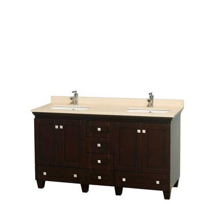Acclaim 60 Double Bathroom Vanity Set Base Finish: Espresso, Top Finish: Ivory