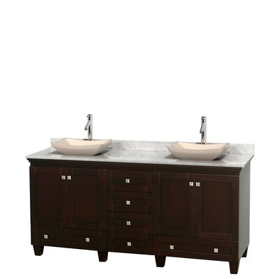 Acclaim 72 Double Bathroom Vanity Base Finish: Espresso, Top Finish: White Carrera, Basin Finish: Ivory Marble