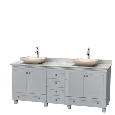 Acclaim 80 Double Bathroom Vanity Set Top Finish: Ivory, Basin Finish: White Carrera Marble, Base Finish: White