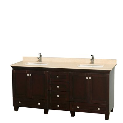 Acclaim 72 Double Bathroom Vanity Base Finish: Espresso, Top Finish: Ivory