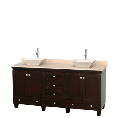 Acclaim 72 Double Bathroom Vanity Top Finish: Ivory, Basin Finish: Bone Porcelain, Base Finish: Espresso