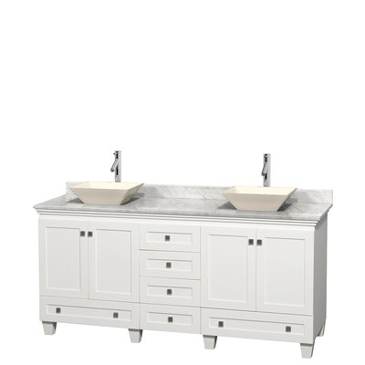 Acclaim 72 Double Bathroom Vanity Base Finish: White, Top Finish: White Carrera, Basin Finish: Bone Porcelain
