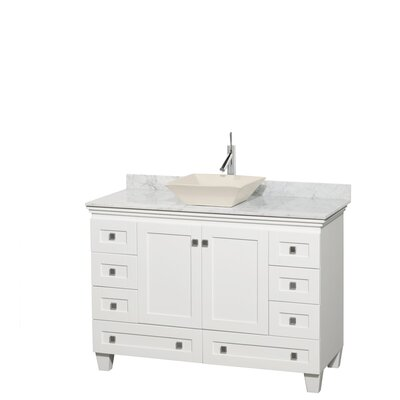 Acclaim 48 Single Bathroom Vanity Set Top Finish: White Carrera, Basin Finish: Bone Porcelain, Base Finish: White