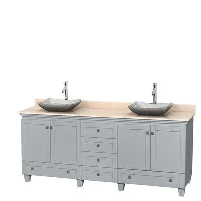 Acclaim 80 Double Bathroom Vanity Set Base Finish: Oyster Gray, Top Finish: Ivory, Basin Finish: White Carrera Marble