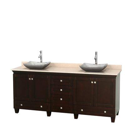 Acclaim 80 Double Bathroom Vanity Set Base Finish: Espresso, Top Finish: Ivory, Basin Finish: White Carrera Marble