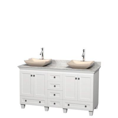 Acclaim 60 Double Bathroom Vanity Set Top Finish: White Carrera, Basin Finish: Ivory Marble, Base Finish: White