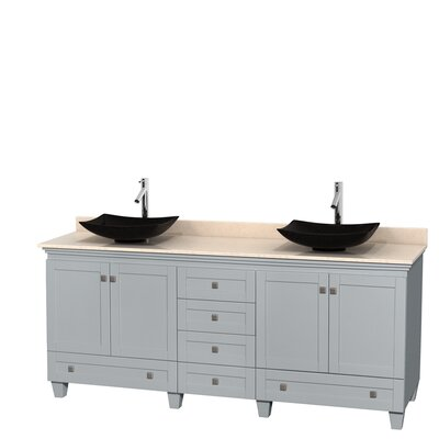 Acclaim 80 Double Bathroom Vanity Set Base Finish: Oyster Gray, Top Finish: Ivory