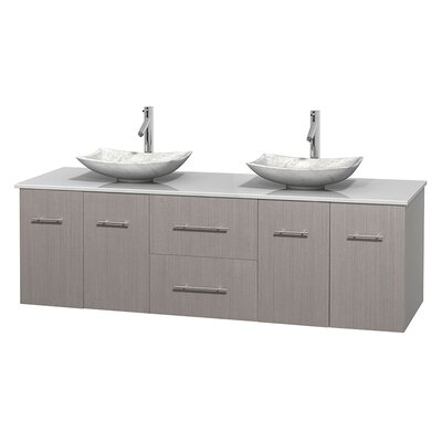 Centra 72 Double Bathroom Vanity Base Finish: Gray Oak, Basin Finish: Arista White Carrera