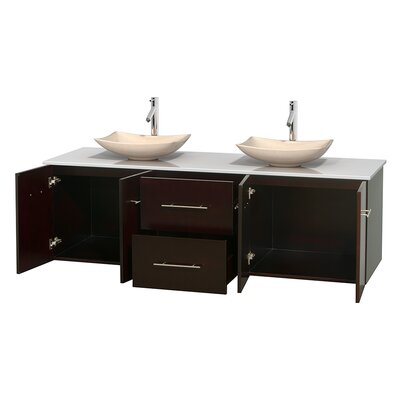 Centra 72 Double Bathroom Vanity Base Finish: Espresso, Basin Finish: Arista Ivory
