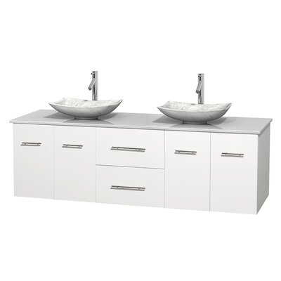 Centra 72 Double Bathroom Vanity Base Finish: Matte White, Basin Finish: Arista White Carrera
