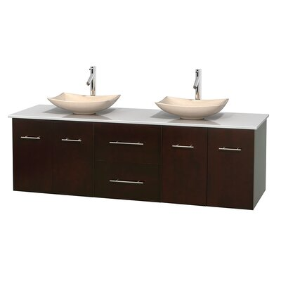 Centra 72 Double Bathroom Vanity Base Finish: Matte White, Basin Finish: Arista Ivory