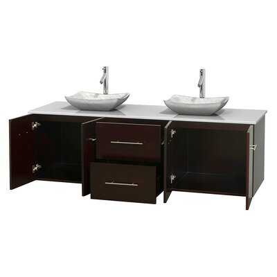 Centra 72 Double Bathroom Vanity Base Finish: Espresso, Basin Finish: Avalon White Carrera