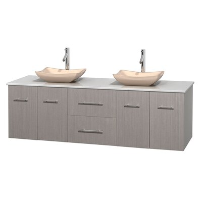 Centra 72 Double Bathroom Vanity Basin Finish: Avalon Ivory, Base Finish: Gray Oak