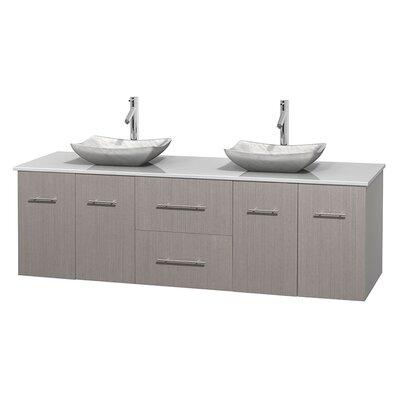 Centra 72 Double Bathroom Vanity Base Finish: Gray Oak, Basin Finish: Avalon White Carrera