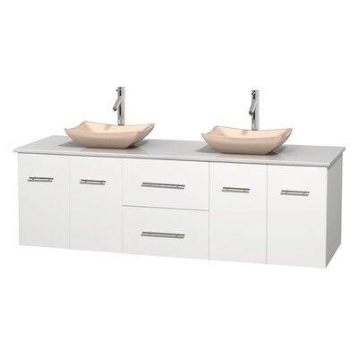 Centra 72 Double Bathroom Vanity Base Finish: Matte White, Basin Finish: Avalon Ivory