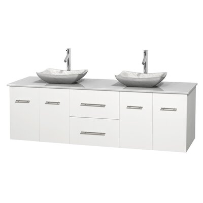 Centra 72 Double Bathroom Vanity Base Finish: Matte White, Basin Finish: Avalon White Carrera