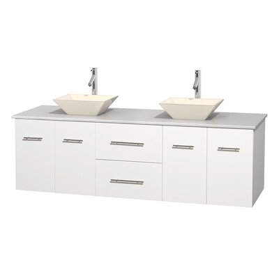 Centra 72 Double Bathroom Vanity Base Finish: Matte White, Basin Finish: Pyra Bone