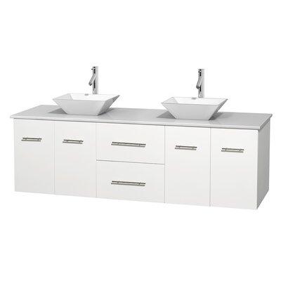 Centra 72 Double Bathroom Vanity Base Finish: Matte White, Basin Finish: Pyra White