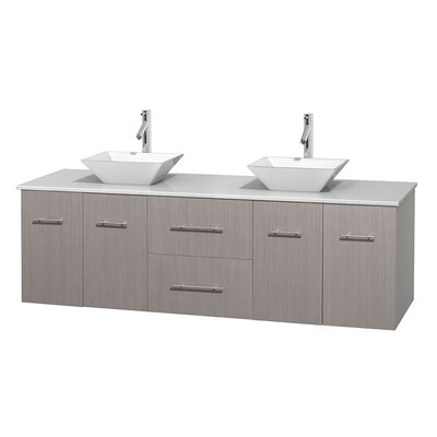 Centra 72 Double Bathroom Vanity Basin Finish: Pyra White, Base Finish: Gray Oak