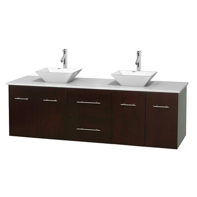 Centra 72 Double Bathroom Vanity Base Finish: Espresso, Basin Finish: Pyra White