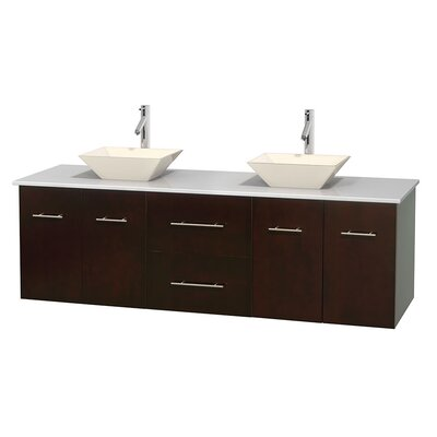 Centra 72 Double Bathroom Vanity Base Finish: Espresso, Basin Finish: Pyra Bone