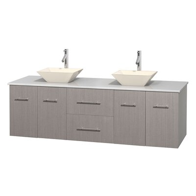 Centra 72 Double Bathroom Vanity Base Finish: Gray Oak, Basin Finish: Pyra Bone