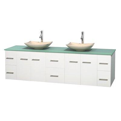 Centra 80 Double Bathroom Vanity Set Base Finish: Matte White, Basin Finish: Arista Ivory