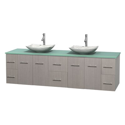 Centra 80 Double Bathroom Vanity Set Base Finish: Gray Oak, Basin Finish: Arista White Carrera