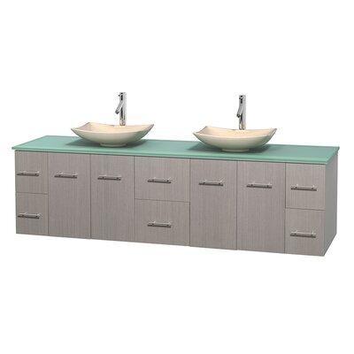 Centra 80 Double Bathroom Vanity Set Basin Finish: Arista Ivory, Base Finish: Gray Oak
