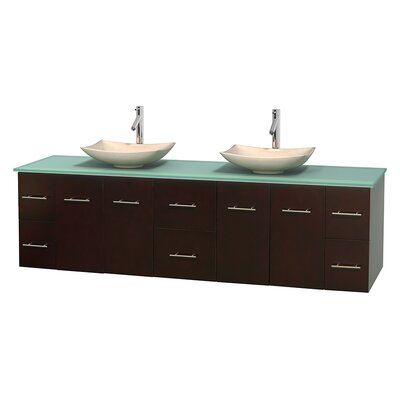 Centra 80 Double Bathroom Vanity Set Base Finish: Espresso, Basin Finish: Arista Ivory