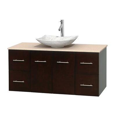 Centra 48 Single Bathroom Vanity Set Top Finish: White Carrera, Basin Finish: Ivory Marble, Base Finish: Espresso