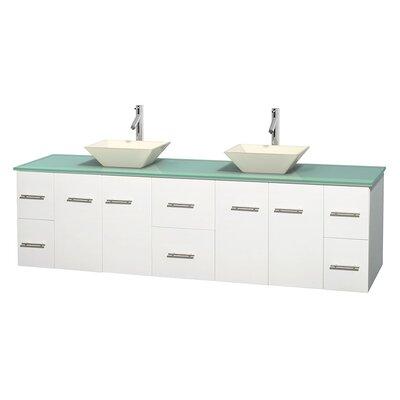 Centra 80 Double Bathroom Vanity Set Base Finish: Matte White, Basin Finish: Pyra Bone