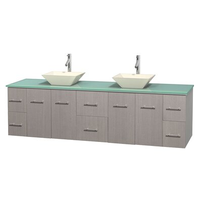 Centra 80 Double Bathroom Vanity Set Basin Finish: Pyra Bone, Base Finish: Gray Oak