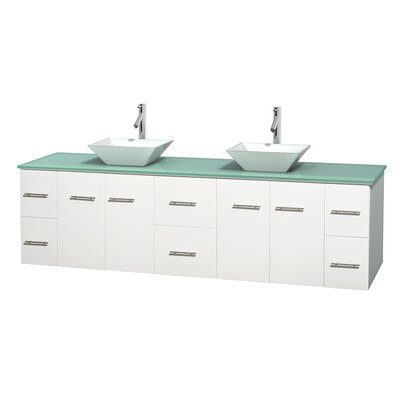 Centra 80 Double Bathroom Vanity Set Base Finish: Matte White, Basin Finish: Pyra White
