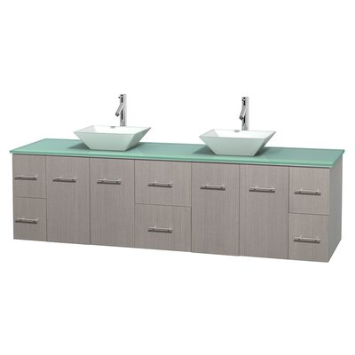 Centra 80 Double Bathroom Vanity Set Basin Finish: Pyra White, Base Finish: Gray Oak