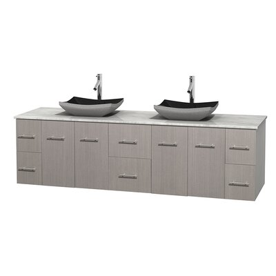Centra 80 Double Bathroom Vanity Set Base Finish: Gray Oak, Top Finish: White Carrera