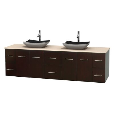 Centra 80 Double Bathroom Vanity Set Base Finish: Espresso, Top Finish: Ivory