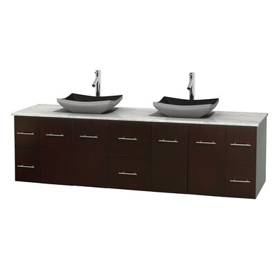 Centra 80 Double Bathroom Vanity Set Base Finish: Espresso, Top Finish: White Carrera
