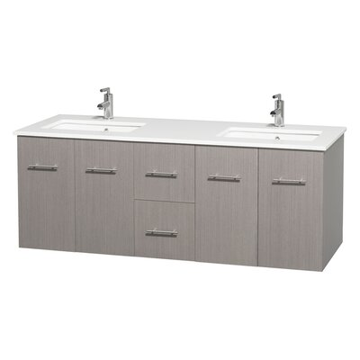 Centra 60 Double Bathroom Vanity Set Base Finish: Gray Oak