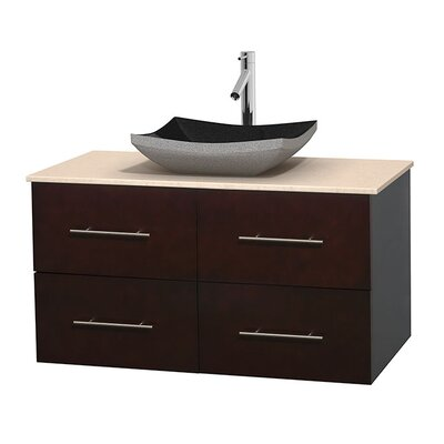 Centra 42 Single Bathroom Vanity Set Base Finish: Matte White, Top Finish: White Carrera