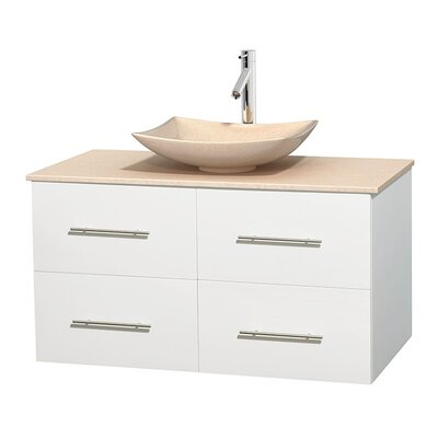 Centra 42 Single Bathroom Vanity Set Base Finish: Matte White, Top Finish: Ivory, Basin Finish: Ivory Marble