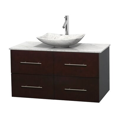Centra 42 Single Bathroom Vanity Set Top Finish: White Carrera, Basin Finish: White Carrera Marble, Base Finish: Espresso