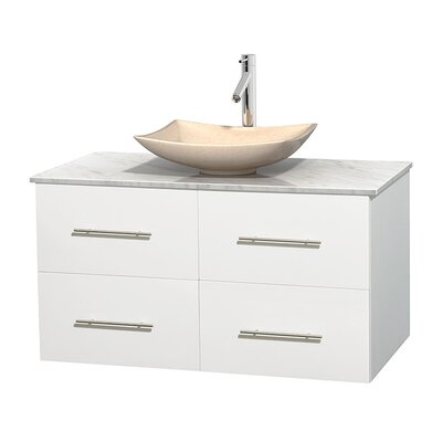 Centra 42 Single Bathroom Vanity Set Base Finish: Matte White, Top Finish: White Carrera, Basin Finish: Ivory Marble