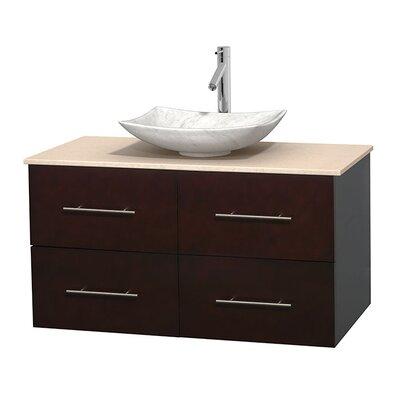Centra 42 Single Bathroom Vanity Set Base Finish: Espresso, Top Finish: Ivory, Basin Finish: White Carrera Marble