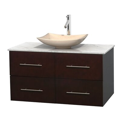 Centra 42 Single Bathroom Vanity Set Base Finish: Espresso, Top Finish: White Carrera, Basin Finish: Ivory Marble
