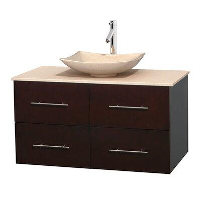 Centra 42 Single Bathroom Vanity Set Base Finish: Espresso, Top Finish: Ivory, Basin Finish: Ivory Marble
