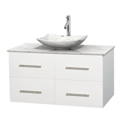 Centra 42 Single Bathroom Vanity Set Base Finish: Matte White, Top Finish: White Carrera, Basin Finish: White Carrera Marble