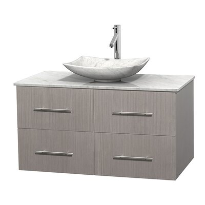 Centra 42 Single Bathroom Vanity Set Top Finish: White Carrera, Basin Finish: White Carrera Marble, Base Finish: Gray Oak