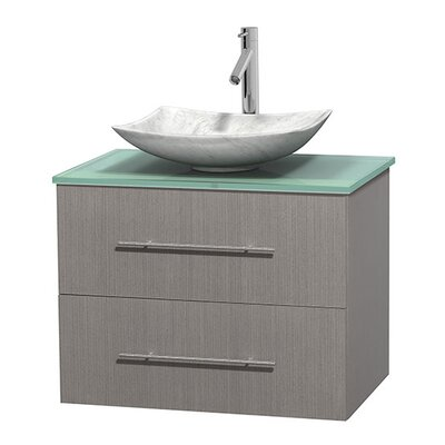 Centra 30 Single Bathroom Vanity Set Basin Finish: Arista White Carrera, Base Finish: Gray Oak