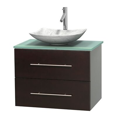 Centra 30 Single Bathroom Vanity Set Base Finish: Espresso, Basin Finish: Arista White Carrera